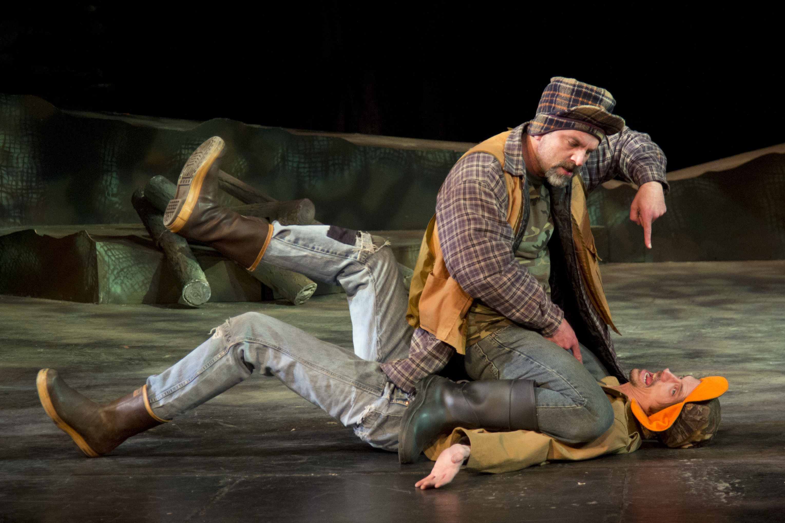 Duane and Duwell fight during Duck Hunter Shoots Angel - Spokane Civic Theatre